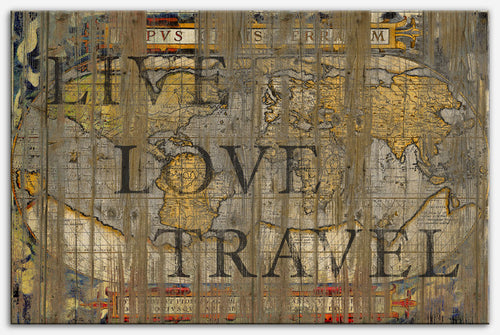 Live Love Travel - Canvas Print, World map - Reclaimed wood art style