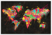 Psychedelic Continents Multicolor world map art