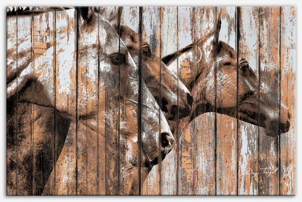 Run With the Horses - Industrial style, reclaimed wood art