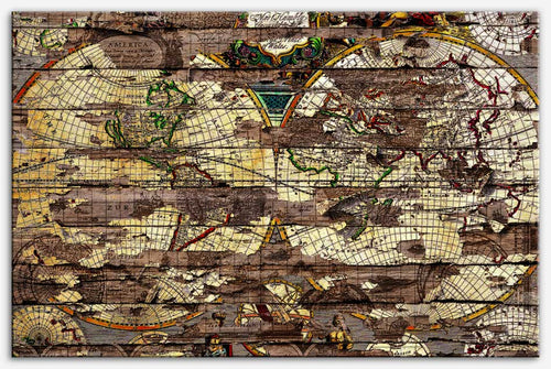 Secret Map - Canvas Print large world map