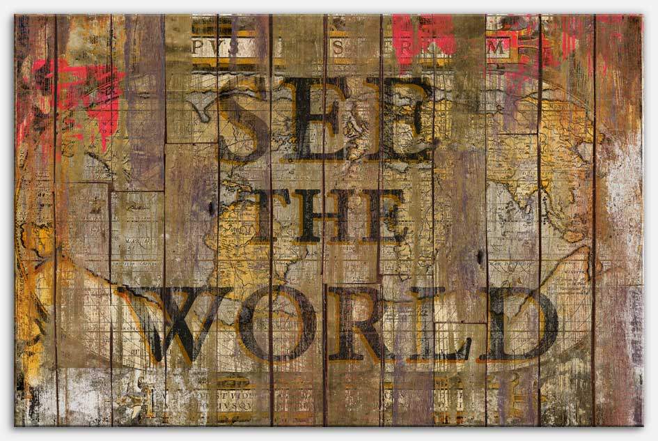 See the World - Canvas Print, quote art world map