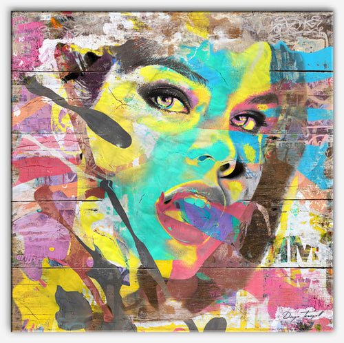 A Woman's Face - Art print with reclaimed wood - Industrial style - Canvas Print