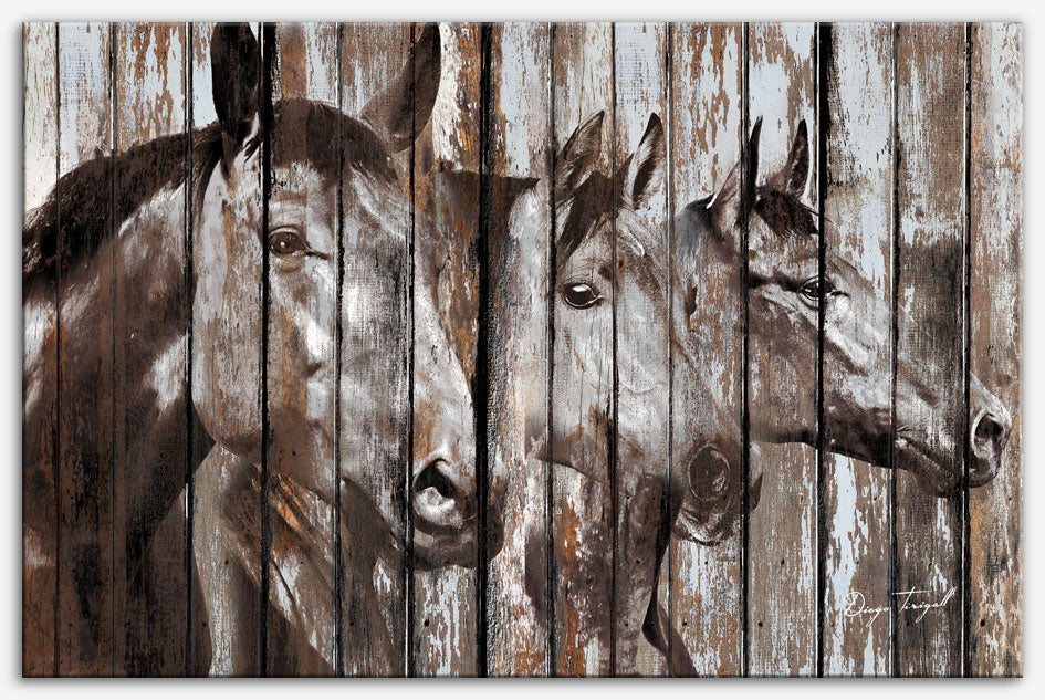 Three Horses - Canvas Print, Industrial style, Reclaimed wood art