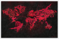 Velvet Flowers World Map canvas art