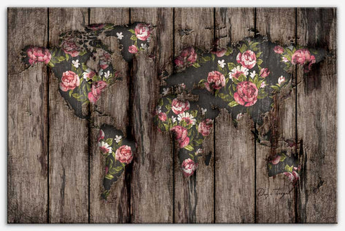 Wood Flowers Mapamundi - Canvas Print, world map art