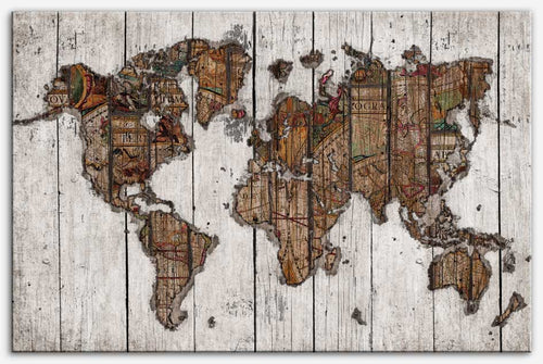 Wood Map (white) - Canvas Print_Vintage world map
