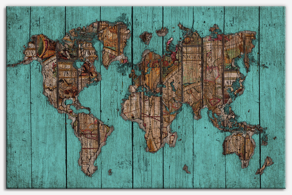 Wood Map 2 - Canvas Print_Vintage world map