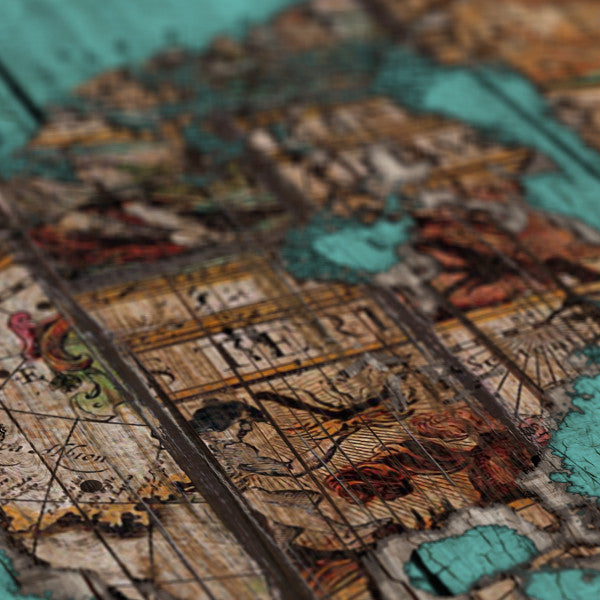 Wood Map 2 - Canvas Print_Vintage world map detail of USA