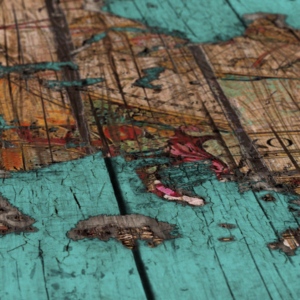 Wood Map 2 - Canvas Print_Vintage world map detail of europe