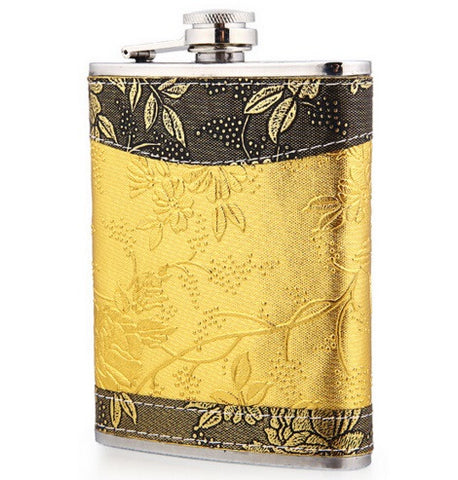 Hip Flask - Gold Leaf <br>(8 oz) - Bar Stop Canada