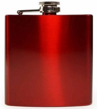 Hip Flask - Red Stainless Steel (7 oz) - Bar Stop Canada