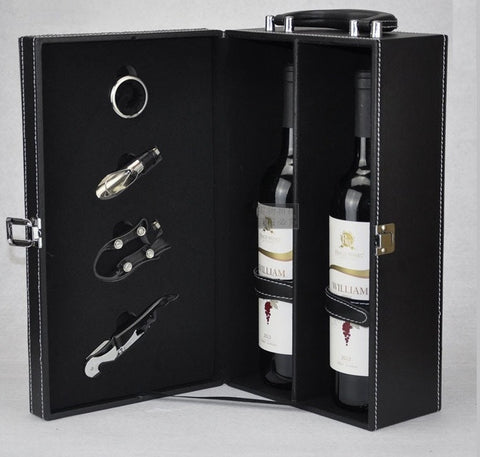 Double Bottle Leather Wine Gift Box - Bar Stop Canada - 1