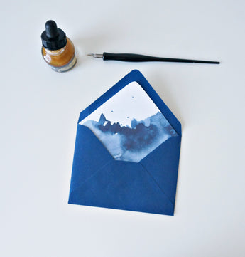 navy watercolor lined envelopes // envelopes and liners for weddings and event invitations