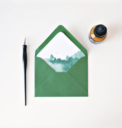 forest green watercolor lined envelopes // envelopes and liners for cards and wedding invitations