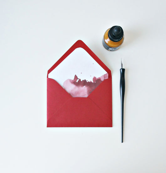 red christmas lined envelopes // envelopes and liners for wedding invitation suites and event invitations