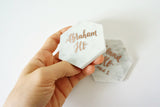marble wedding place cards with modern metallic calligraphy