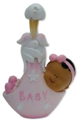CHARACTER BLACK BABY IN STORK CARRIER - PINK FROM CLUB GREEN - hanrattycraftsgifts.co.uk
