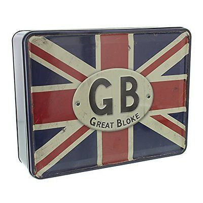 Novelty storage box Union Jack Tin With Quotes Gift For Him - hanrattycraftsgifts.co.uk