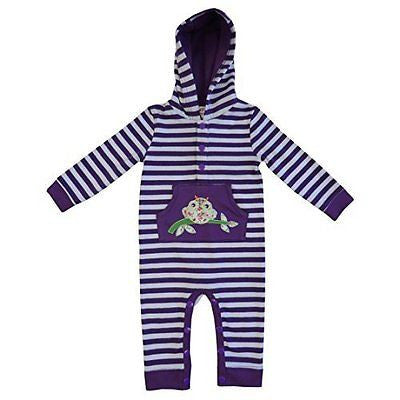 powell craft purple strippy owl hooded jumpsuit 0-6 months - hanrattycraftsgifts.co.uk