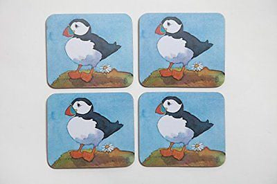 Puffins sottobicchiere di Emma Ball - hanrattycraftsgifts.co.uk