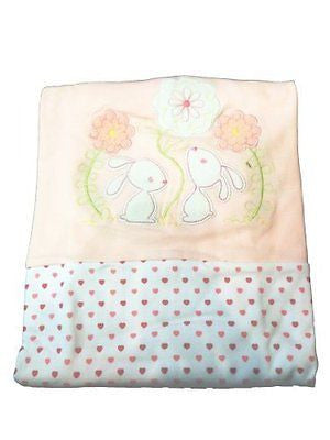 Supersoft Luxurious Baby Pram/Crib Blanket - Pink Bunny & Flowers/Hearts - 100% - hanrattycraftsgifts.co.uk
