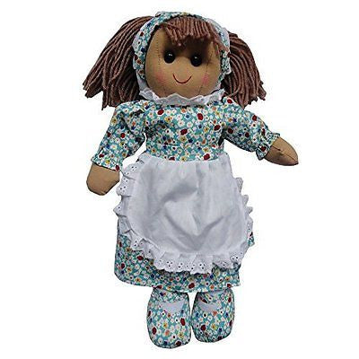 BLUE FLORAL RAG DOLL WITH PINNY 40CM