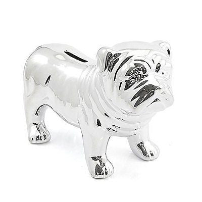 shinny silver look standing bulldog money bank bulldog - hanrattycraftsgifts.co.uk