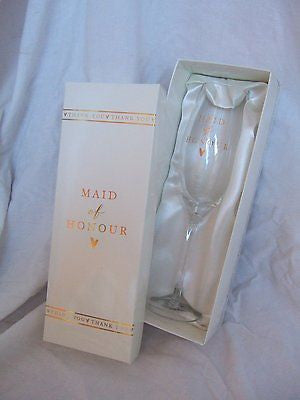 """Maid of Honour"" Keepsake Sentimental Novelty Wine Glass in Presentation Box - hanrattycraftsgifts.co.uk"