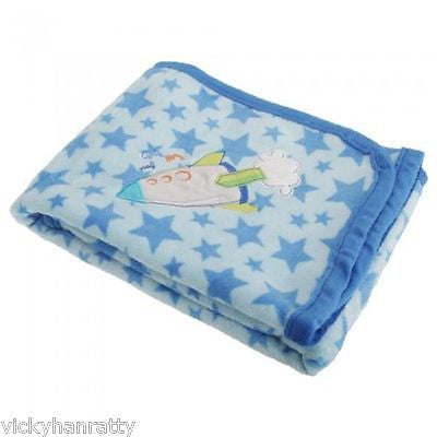 ) Baby Boys Blue Wrap Blanket With Star Pattern And Embroidered Rocket - hanrattycraftsgifts.co.uk