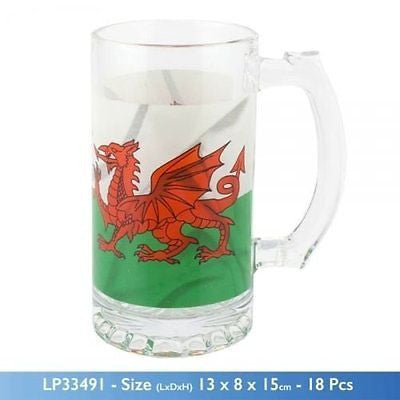 Welsh Dragon design beer tankard glass (one) - hanrattycraftsgifts.co.uk