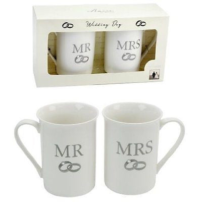 Amore Mr & Mrs White Mugs - hanrattycraftsgifts.co.uk