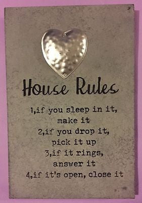 shabby chic house rules plaque - hanrattycraftsgifts.co.uk