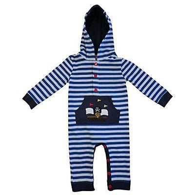 powell craft pirate boat strippy hooded jumpsuit 6 - 12 months - hanrattycraftsgifts.co.uk