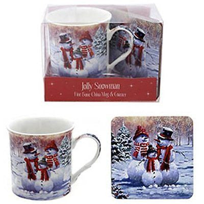 Macneil Snowman Mug and Coaster Set in Gift Pack - hanrattycraftsgifts.co.uk
