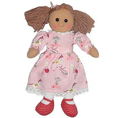 Pink pony print dress rag doll with red shoes and bows in her bunches. size 40cm - hanrattycraftsgifts.co.uk
