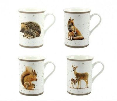 Macneil Wildlife Set of 4 Mugs Hedgehog Squirrel Fox Deer - hanrattycraftsgifts.co.uk