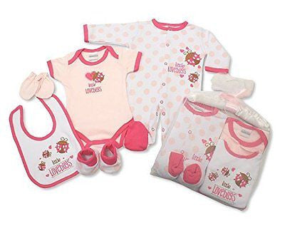 5 Piece Baby Gift Set With Embroidery and Applique - 0/3 Months (Baby Girl Pink) - hanrattycraftsgifts.co.uk