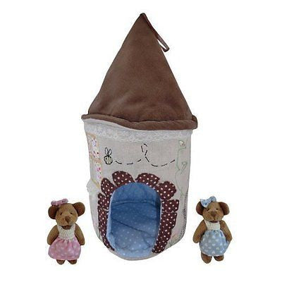 Pretty Teddy Bear House with 2 Resident Baby Bears - 1 Boy & 1 Girl - Powell Cra - hanrattycraftsgifts.co.uk