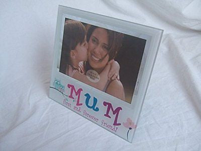 """Mum First and Forever Friend"" Sentimental White Glass 5.5"" x 3.5"" (14x9cm) Phot - hanrattycraftsgifts.co.uk"