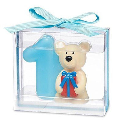 Teddy bear with number 1. 80 x 35 x 70mm. Blue - hanrattycraftsgifts.co.uk