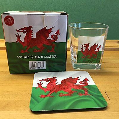 Welsh Dragon design Whisky Glass & Coaster - hanrattycraftsgifts.co.uk