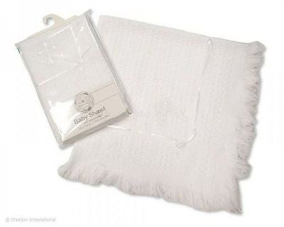 Snuggle Baby Christening Shawl with White Cross Embroidery 120 x120cm - hanrattycraftsgifts.co.uk
