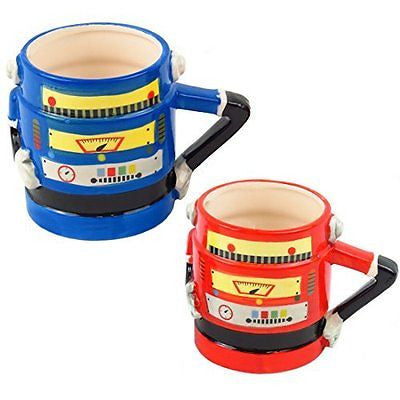 Retro Robot Shaped Mugs (Red or Blue) (Blue) - hanrattycraftsgifts.co.uk