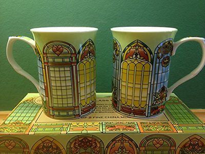 Set Of 2 China Mugs Stained Glass Windows Design (LP92365) - hanrattycraftsgifts.co.uk