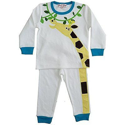 Powell Craft Cotton Pyjamas Boys or girls pyjamas Giraffe design Ages 1-7 (UK 4- - hanrattycraftsgifts.co.uk