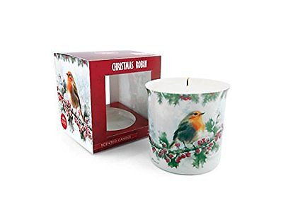 Christmas Robin Scented Candle In Ceramic Pot Macneil Collection - hanrattycraftsgifts.co.uk