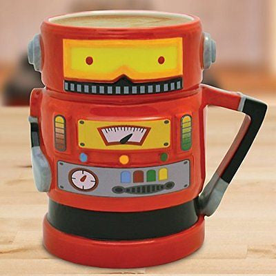 Retro Robot Shaped Mugs (Red or Blue) (Red) - hanrattycraftsgifts.co.uk
