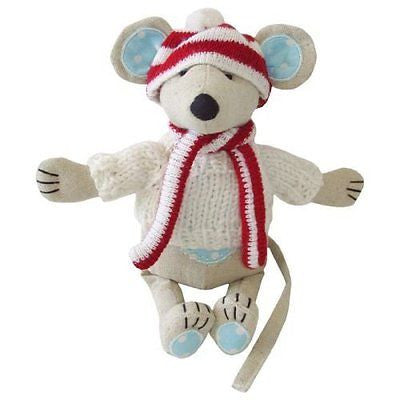 Powell Craft Medium Mouse with Hat & Scarf - 21cm - hanrattycraftsgifts.co.uk