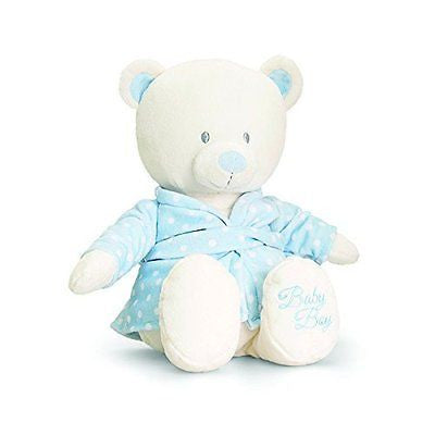 baby bear in dressing gown 25cm blue