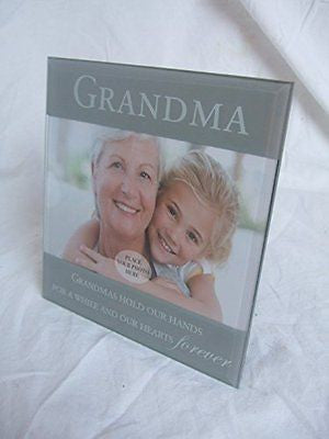 """Grandma"" Sentimental Grey Glass 6"" x 4"" (15x10cm) Photo Frame with Sentimental - hanrattycraftsgifts.co.uk"